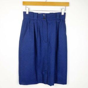Laurel Escada Blue Career Textured Pencil Skirt